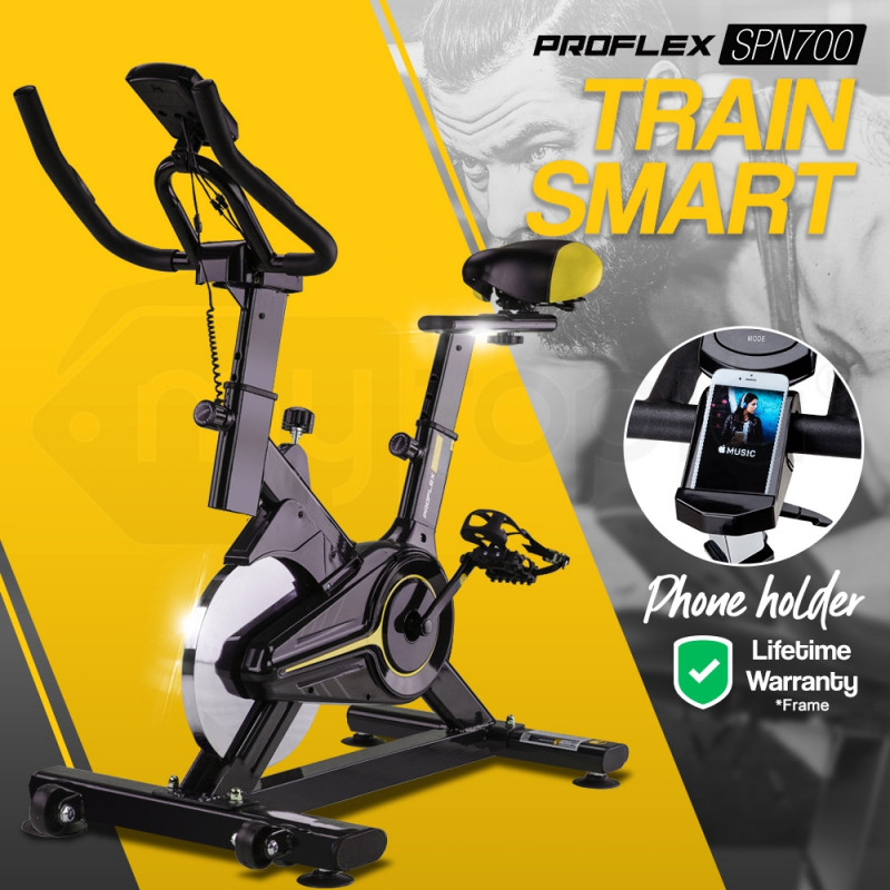 PROFLEX Commercial Spin Bike Flywheel Exercise Fitness Home Gym Yellow by Proflex