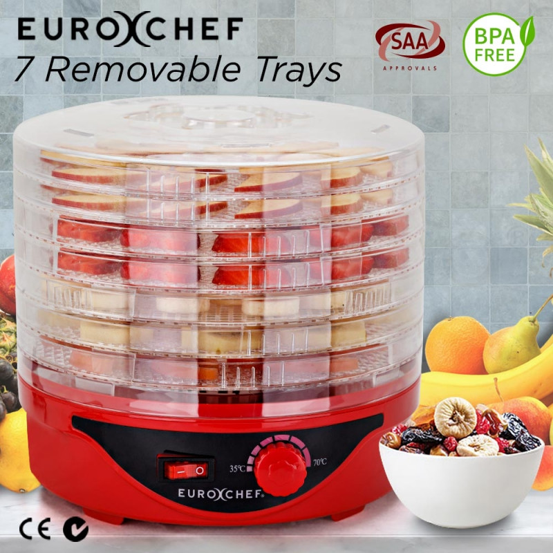 Red 7 Trays Electric Food Dehydrator - EUC-DH-7RD by Euro-Chef