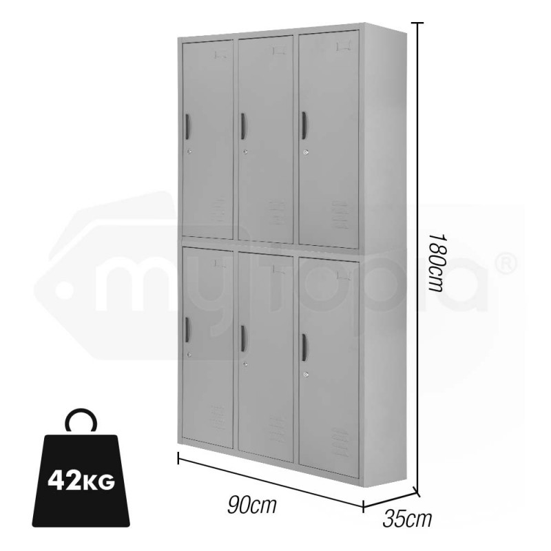 Baumr-AG Grey 6 Door Steel Cabinet Gym Lockers  by Baumr-AG
