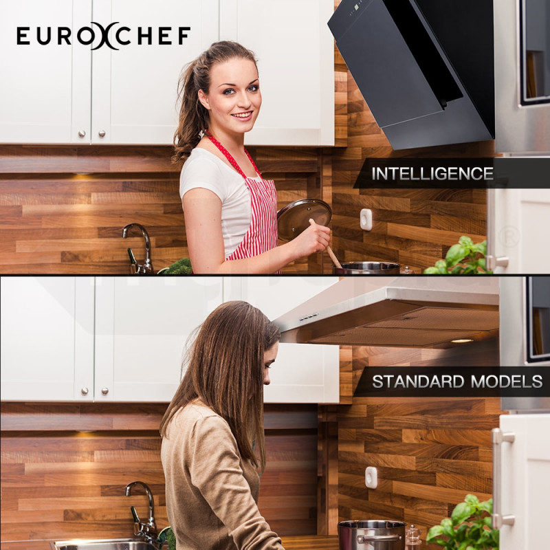 Black 900mm Angled Wall Mounted Rangehood by Euro-Chef