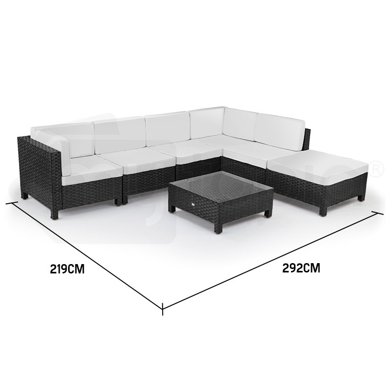 Black 7pc Outdoor Lounge Set by London Rattan