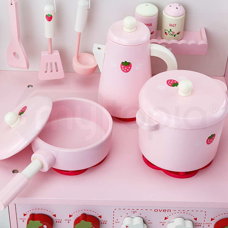 White Pink Wooden Kids Playset Toy Kitchen Rovo Kids