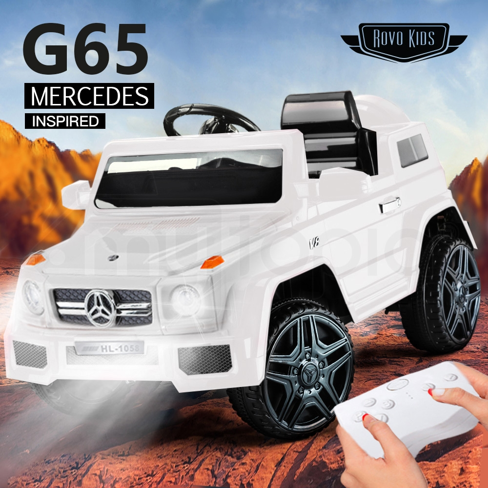 Rovo Kids White Mercedes G65 12V Remote Control Electric Cars For Kids